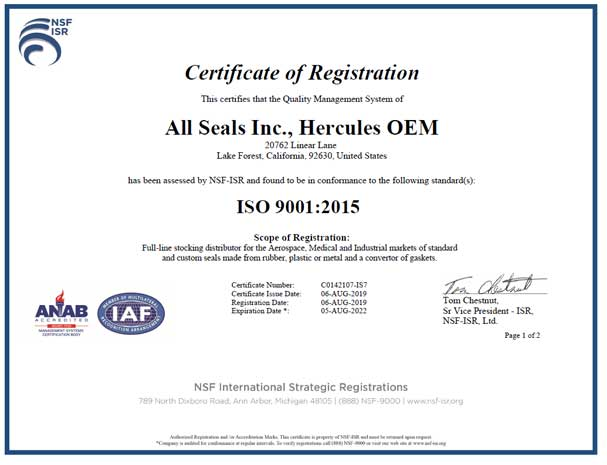 All Seals Inc  - ISO9001:2008 and AS9100:2009 Rev C